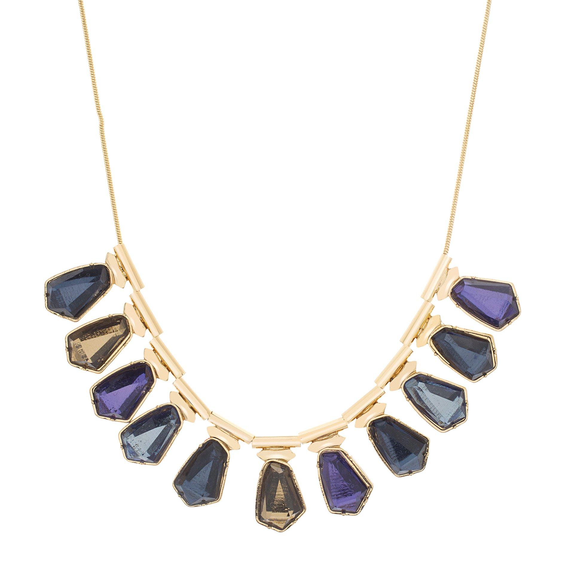Catherine Malandrino Women's Blue Multi-Tonal Stone Bib Style Yellow Gold-Tone Necklace