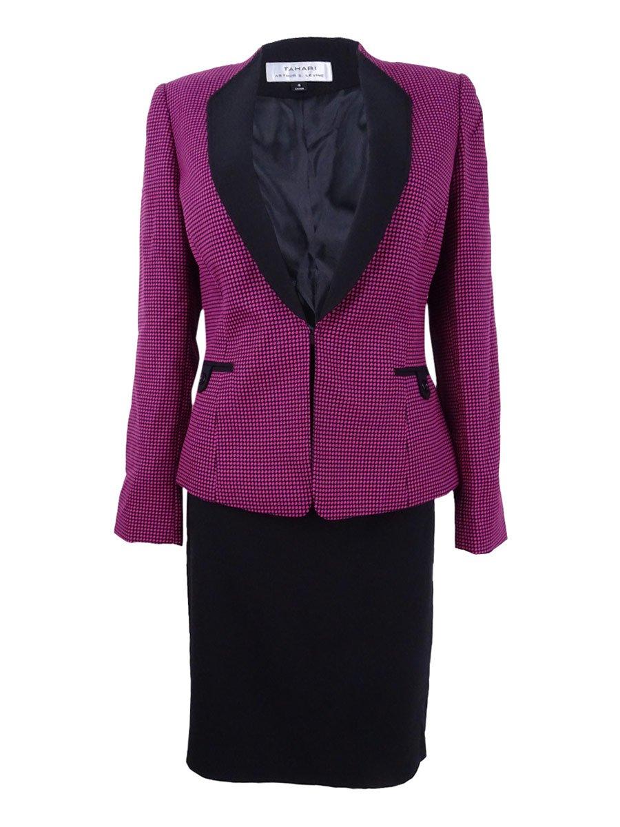 Tahari ASL Women's Contrast Novelty Skirt Suit (4, Fuchsia/Black)