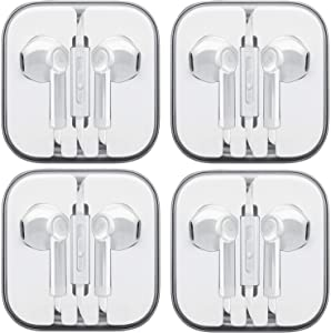 Wired Earbud Headphones with Microphone, Boost+ Premium Earphones Volume Control Slide-Bar with 3.5mm Port for PCs, Tablets, and Cell Phones in The Office, Classroom or Home, White, 4-Pack