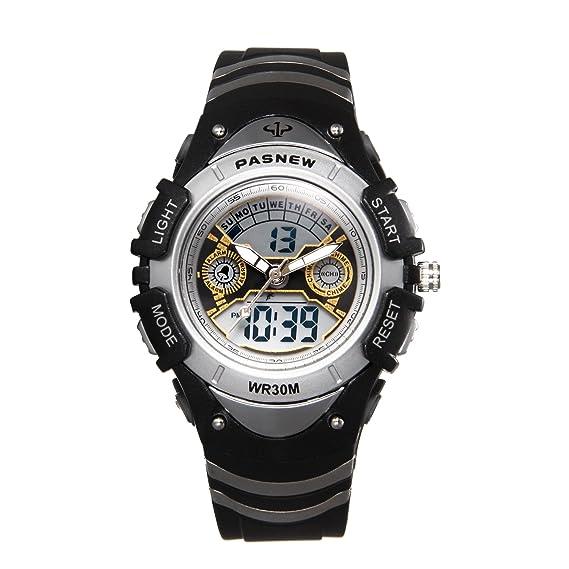 JewelryWe Relojes para Niños Niñas Analógico Digital Reloj Deportivo Para Aire Libre, Reloj Infantil Negro, 3ATM A Prueba de Agua Buen Regalo 2017: ...