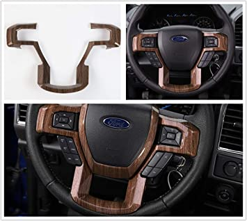 Aspeike Steering Wheel Decoration Moulding Wood Grain Cover Trims Kit For   Ford F