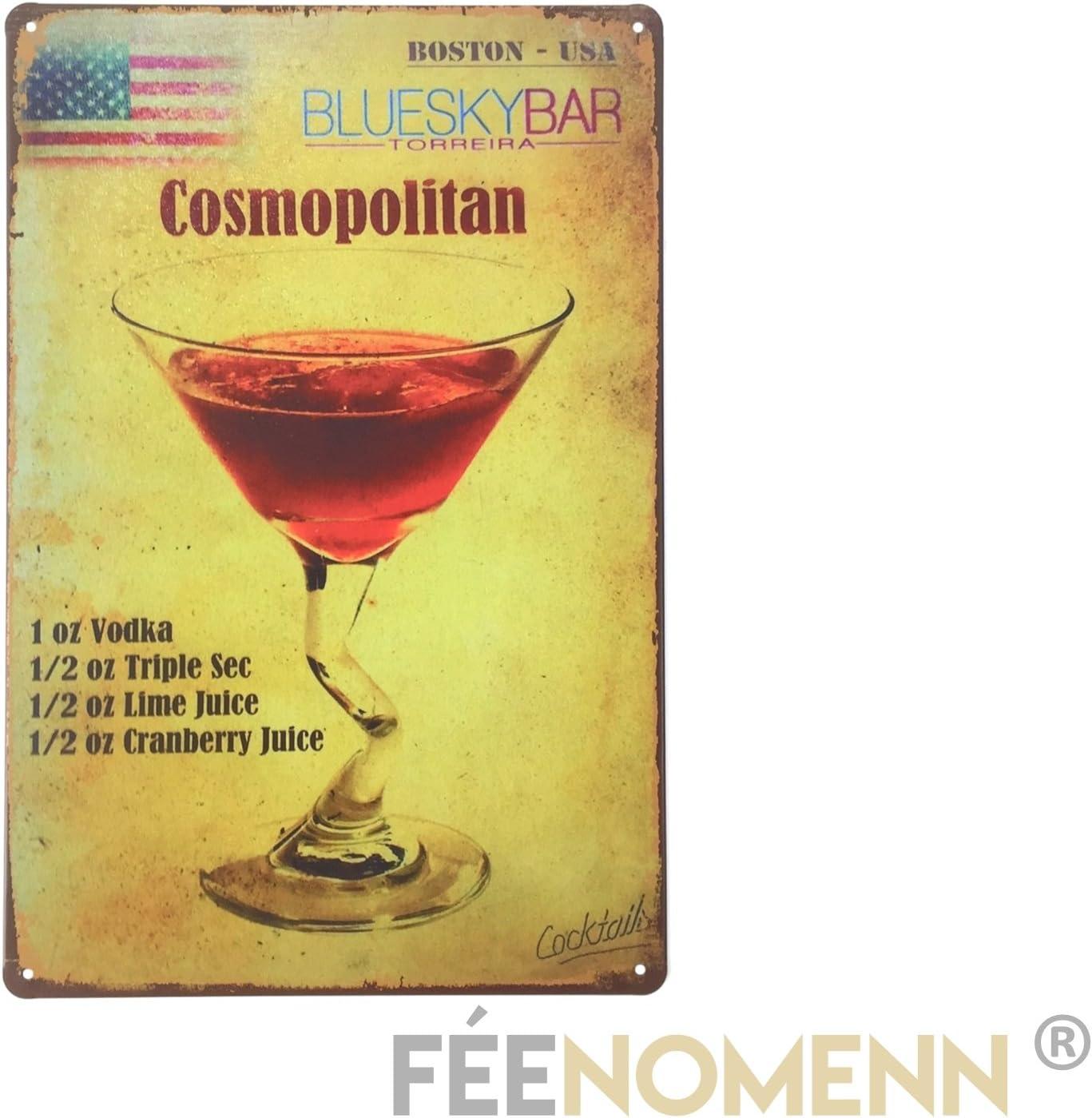 FEENOMENN Plaque M/étal D/éco Vintage 20x30cm Cosmopolitain Recette Cocktail