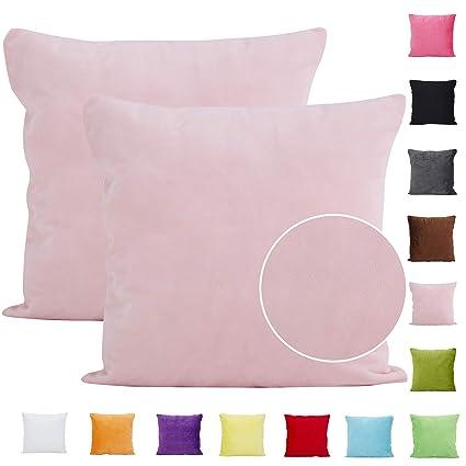 Comoco Juego de 2 fundas decorativas para cojín de franela suave, para sofá, disponibles en 15 colores lisos y 7 tamaños, rosa claro, 12