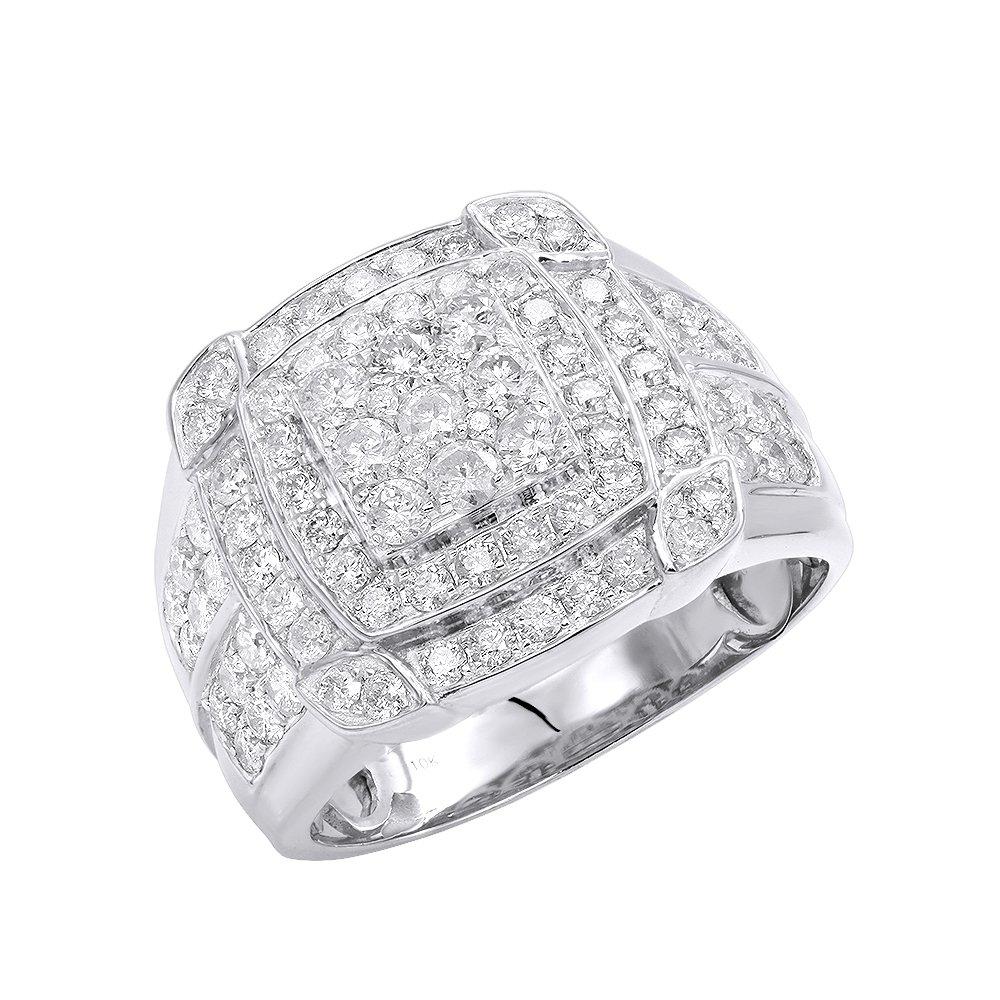 Mens Pinky Rings 10K Rose, White, Yellow Gold 2.5 Carat Diamond Band 2.5ctw (White, Size 8.5)