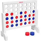 GoSports Giant Wooden 4 in a Row Game | Choose Between Classic White or Dark Stain | 2 Foot Width - Huge 4 Connect…