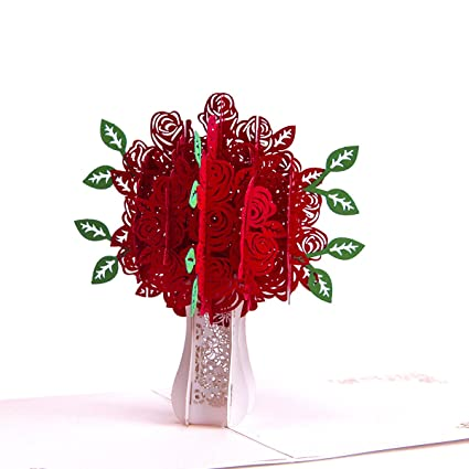 Amazon Com Mothers Day 3d Pop Up Greeting Card Gifts Rose