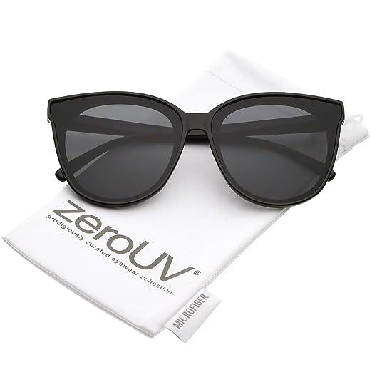 2fe4009b84e zeroUV - Oversize Neutral Color Flat Lens Cat Eye Sunglasses 60mm (Black  Smoke)