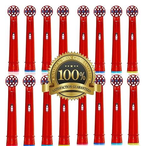 Drkao Paquete de 16 cabezales de cepillo de dientes para niños fabricados con nailon Dupont cabezales