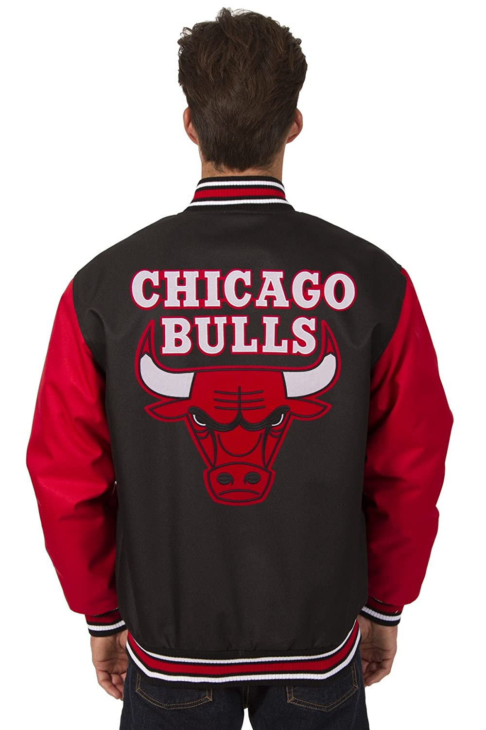 c8a9916d02fb Amazon.com: J.H. Design Chicago Bulls NBA Jacket Poly-Twill Black Red with  Embroidered Logos: Clothing