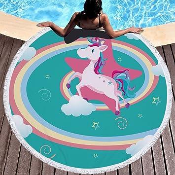 Unicornio Flores Arco Iris Toalla de playa grande redondo microfibra toalla de playa playa manta Toalla Mantel de picnic pared colgantes Yoga Alfombras 150 ...