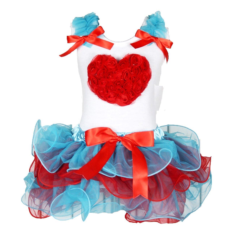 Valentine Dress Floral Heart White Shirt Blue Red Petal Skirt Set 1-8y