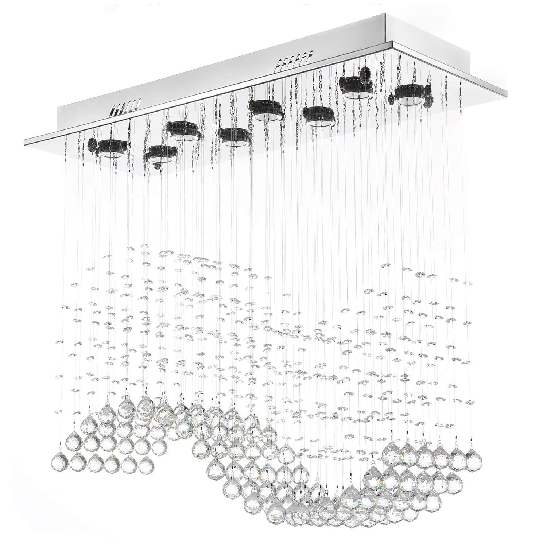 "Moooni Modern Crystal Chandelier Lighting Wave Dining Room Ceiling Light Fixture L31.5"" x W11.8"" x H27.6"""