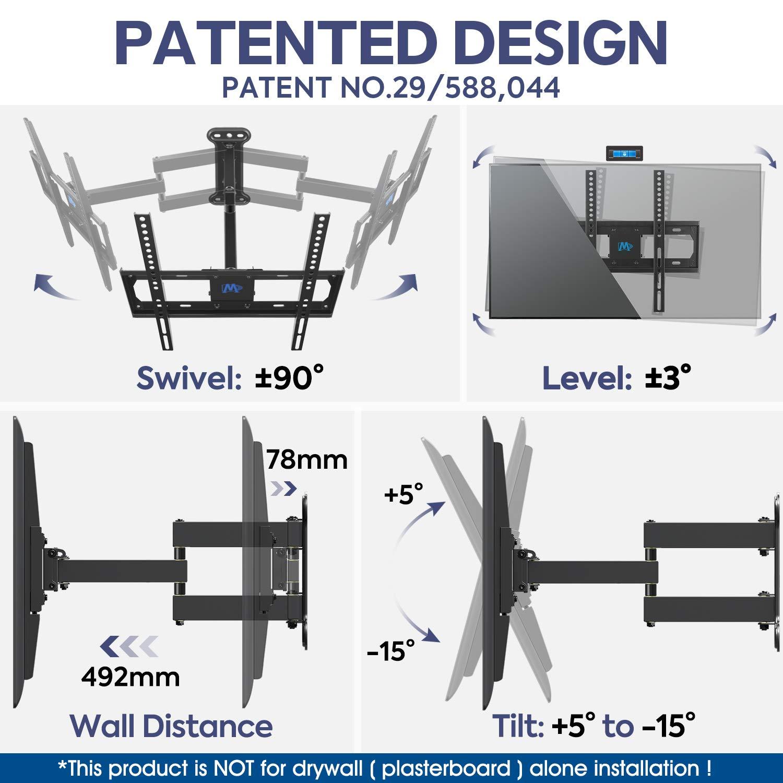 Mounting Dream Soporte de Pared TV Giratorio y Inclinable para la Mayoría DE 26-55 Pulgadas LED, LCD, y OLED de Pantalla Plana hasta VESA 400x400mm y 27kg, ...