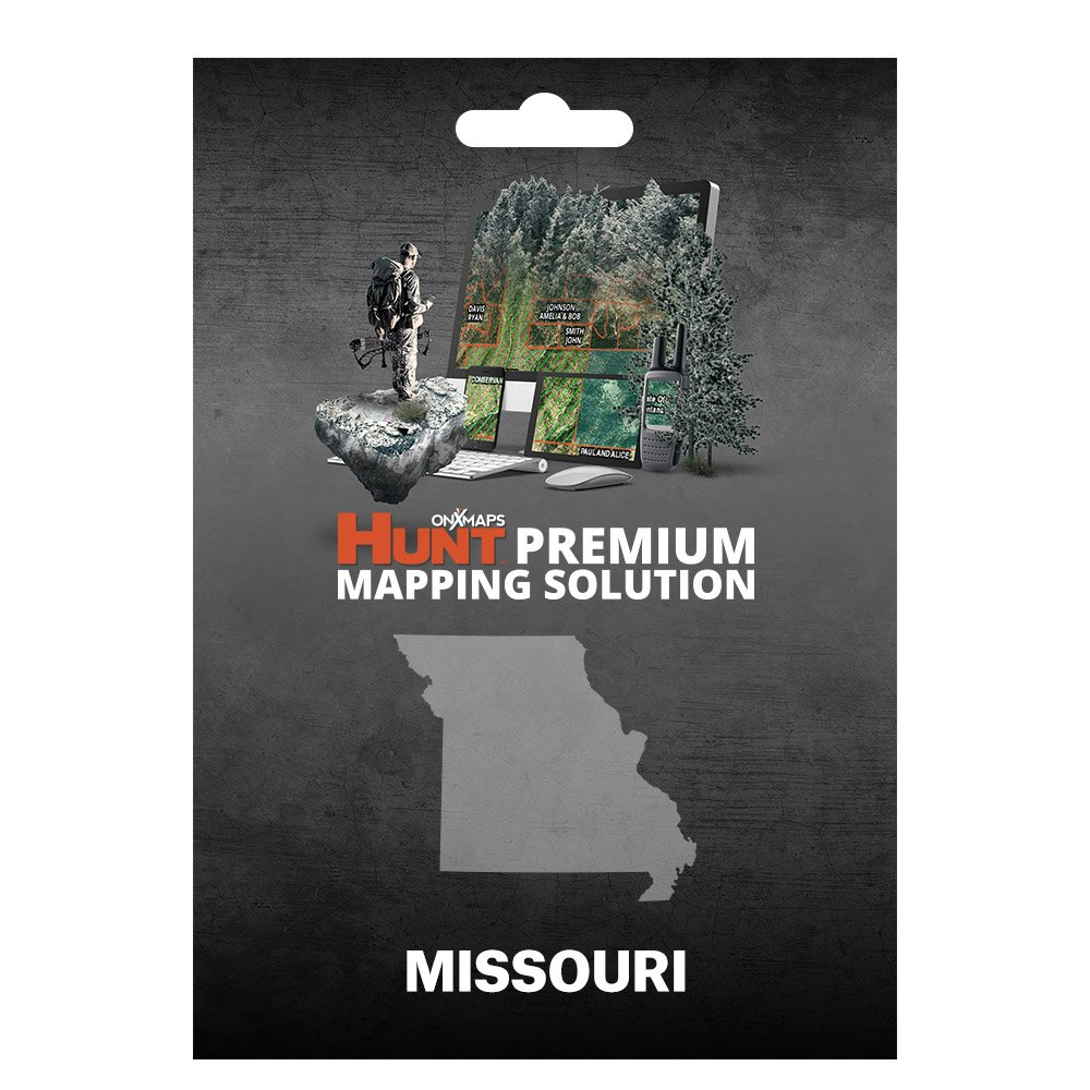 onXmaps HUNT Missouri: Digital Hunting Map For Garmin GPS + Premium Membership For Smartphone and Computer - Color Coded Land Ownership - 24k Topo - Hunting Specific Data