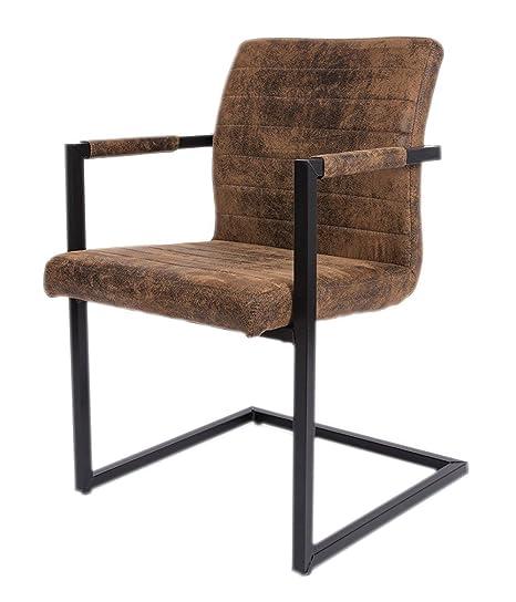 SAM® Esszimmerstuhl Stoff Wildlederoptik Parzivo, Stuhl mit Armlehnen, Schwingstuhl mit Eisen Fuß