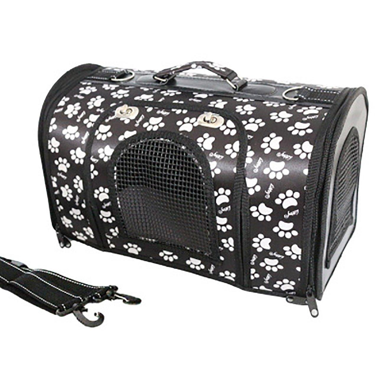 Black L black L UHeng Folding Portable Pet Dog Cat Carrier Mesh Fabric Canvas Travel Bag