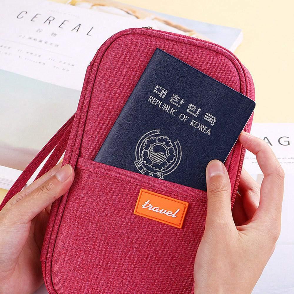 Porte-passeport Multiple Enfant Rouge//noir//gris//violet //orange Porte-passeport Familial Organisateur de Sac pour Hommes Femmes Portefeuille de Passeport Multi-usages Zip Travel