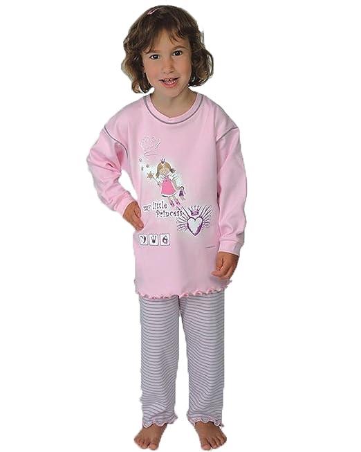 Pijamas niñas 2 piezas La pequeña princesa color rosa,100% algodon tallas 92-