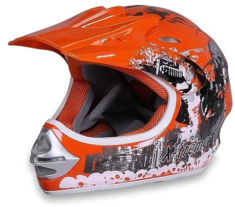 Actionbikes Casco para Motocicleta X-Treme Niños Cruzar Cascos Casco Casco de Seguridad Casco para