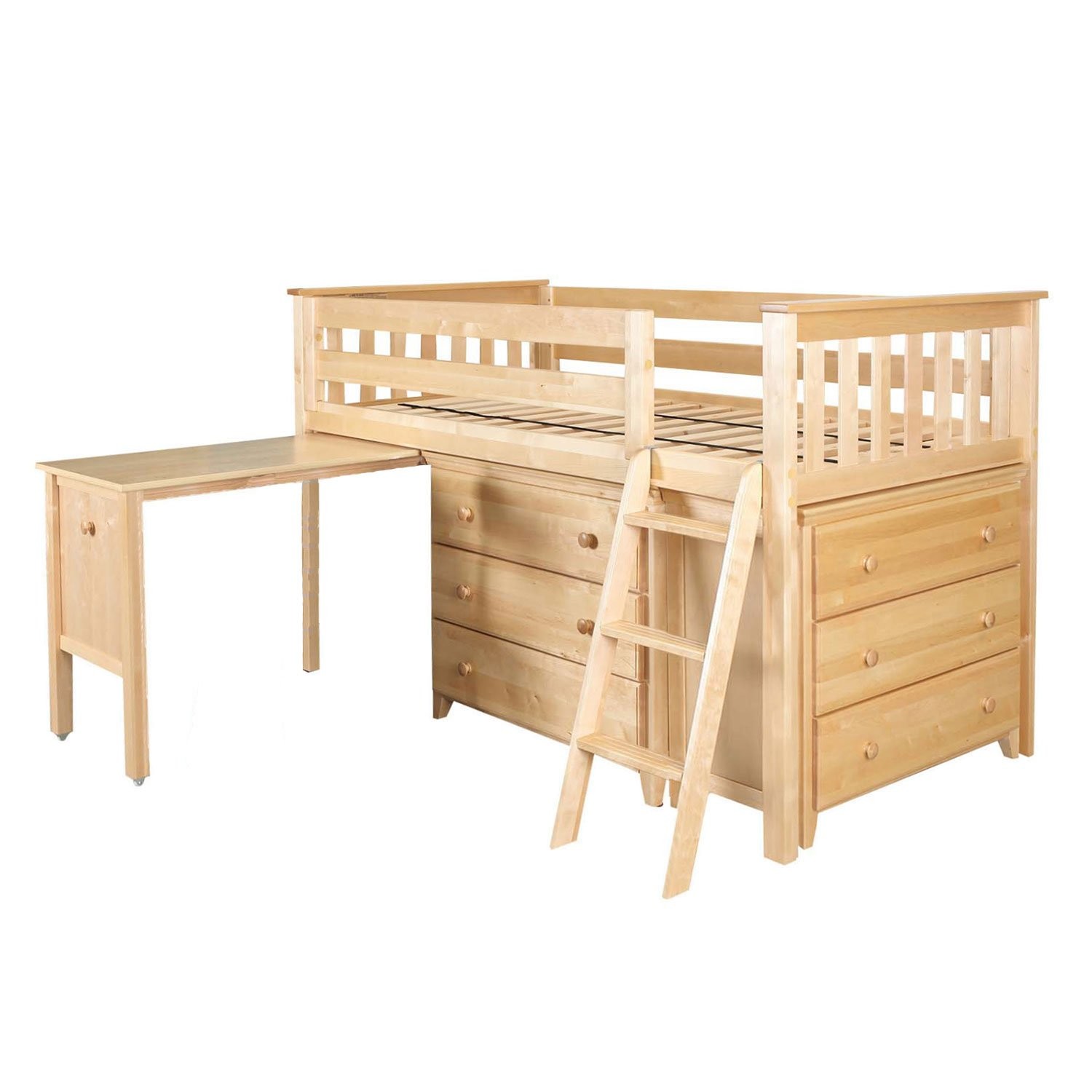 Max & Lily 17-5284-001 Solid Wood Storage Loft Bed with Dresser, Bookcase and Desk, Twin, Natural