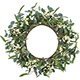 CEWOR Artificial Eucalyptus Wreath 20inch Green Leaf Wreath for Fall Festival Celebration Front Door Wall Window Party Décor