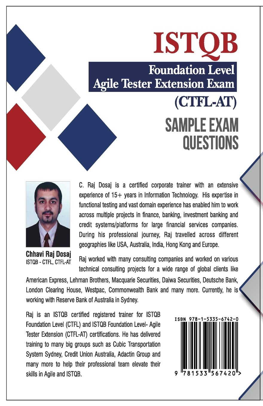 Buy sample exam questions istqb foundation level agile tester buy sample exam questions istqb foundation level agile tester extension exam book online at low prices in india sample exam questions istqb foundation 1betcityfo Image collections