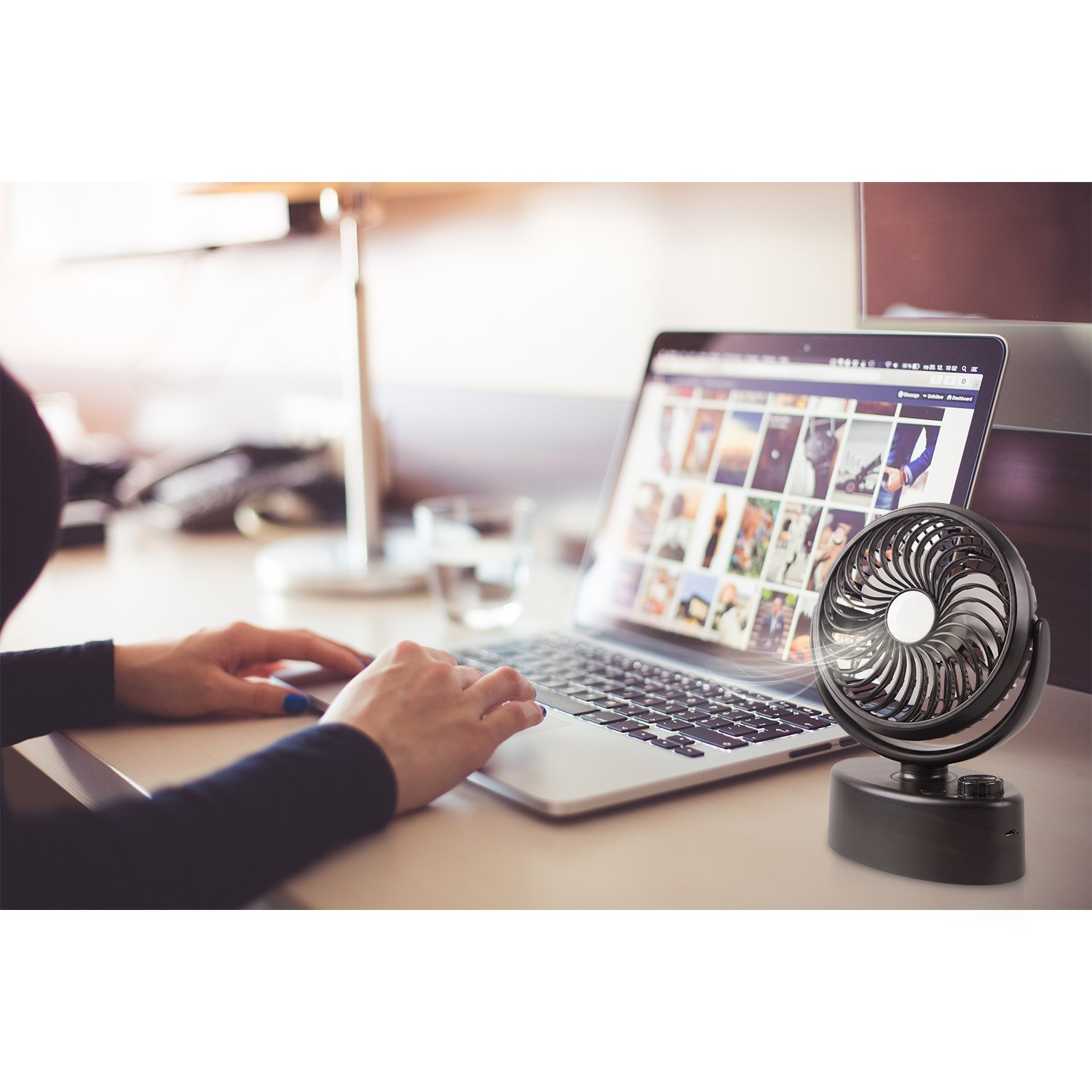 Adjustable Wind Power and Silent Portable Fan 360 Degree Rotation and Swiveling Desk Fan HG278 Battery NOT Include Xcellent Global Mini USB Oscillating Rechargeable Table Fan