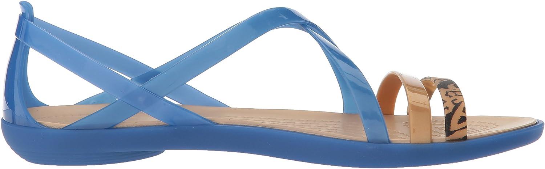 crocs Isabella Graphic Strappy Sandal Women Blau JeanGold