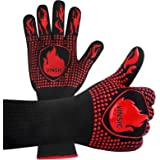 VINSIC BBQ Gloves, 1472℉ Oven Gloves Heat Resistant Gloves Silicone Oven Mitts for Grade Kitchen Grill Gloves for Barbecue, C
