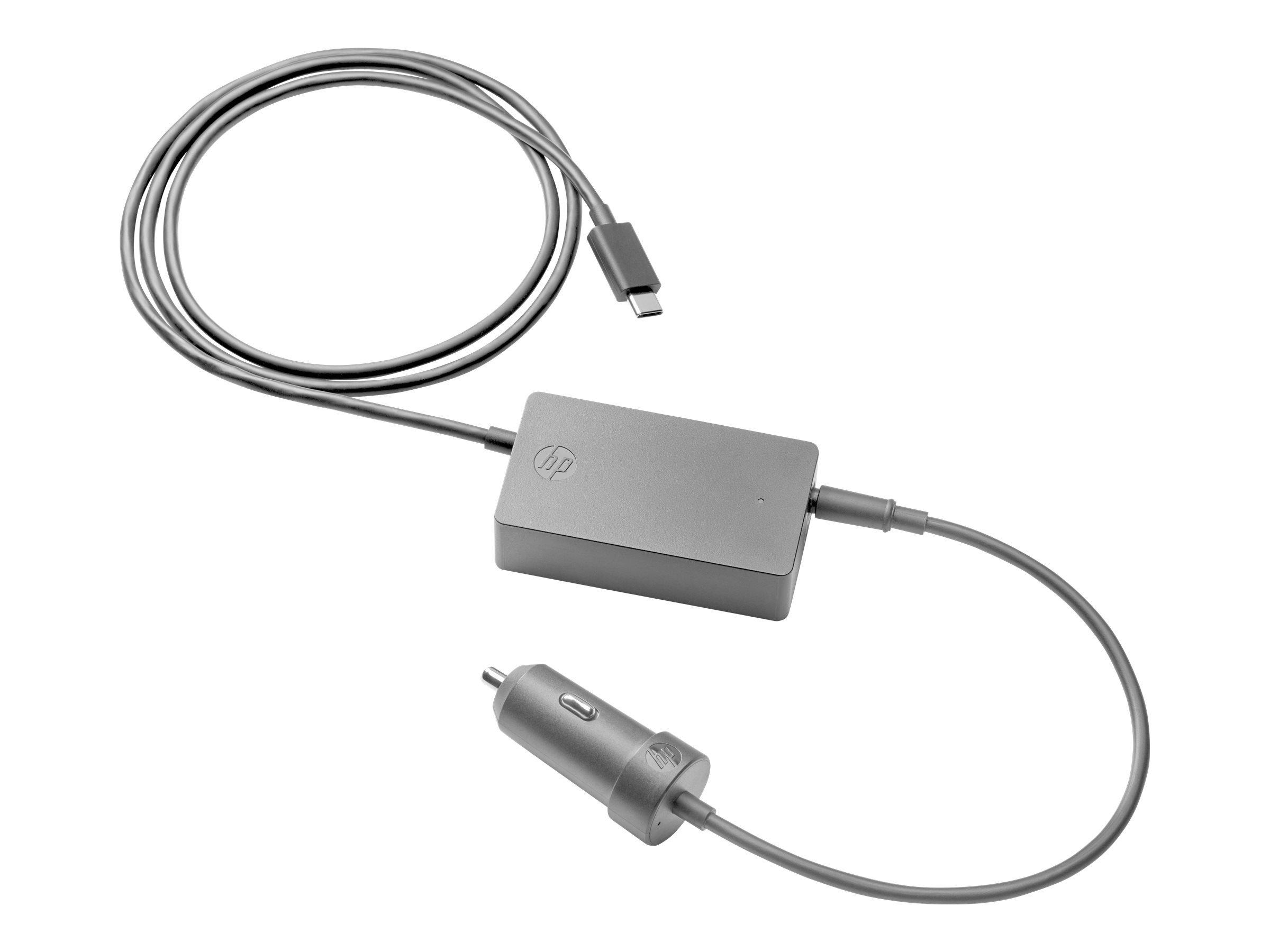 HP USB-C Auto Adapter - Car Power Adapter - 45 Watt - Black