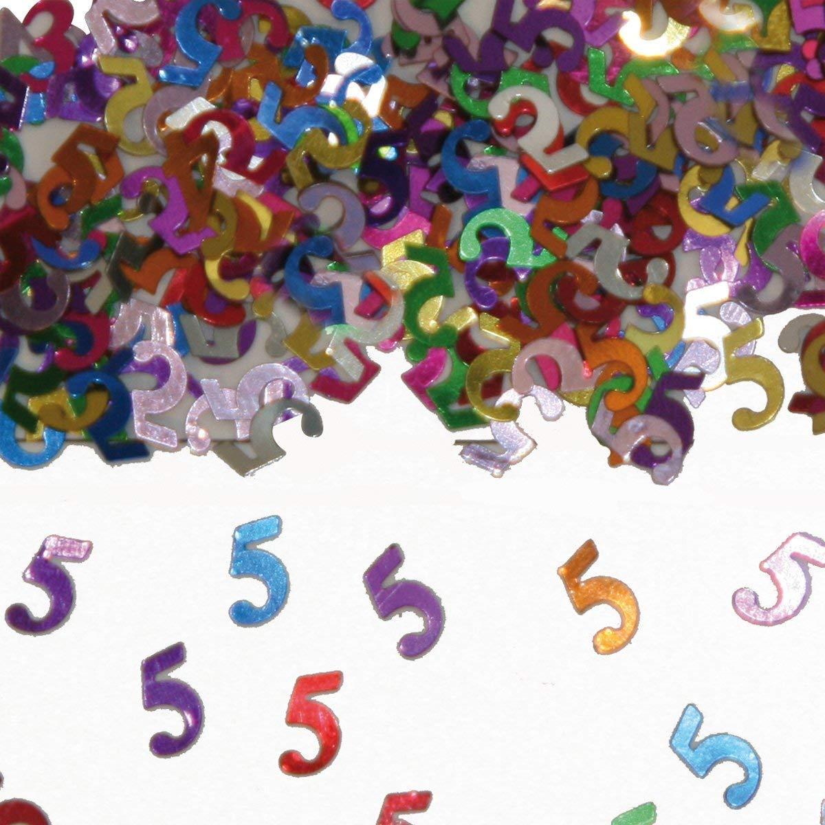 Folat Colorido brillantes N/úmero De Cumplea/ños aprox. 1000 /Único de Confeti decoraci/ón mesa decorativa Aniversario Confeti f/ünfter Cumplea/ños Ni/ños Cumplea/ños Ni/ños 5 BOLSA CON 15 G