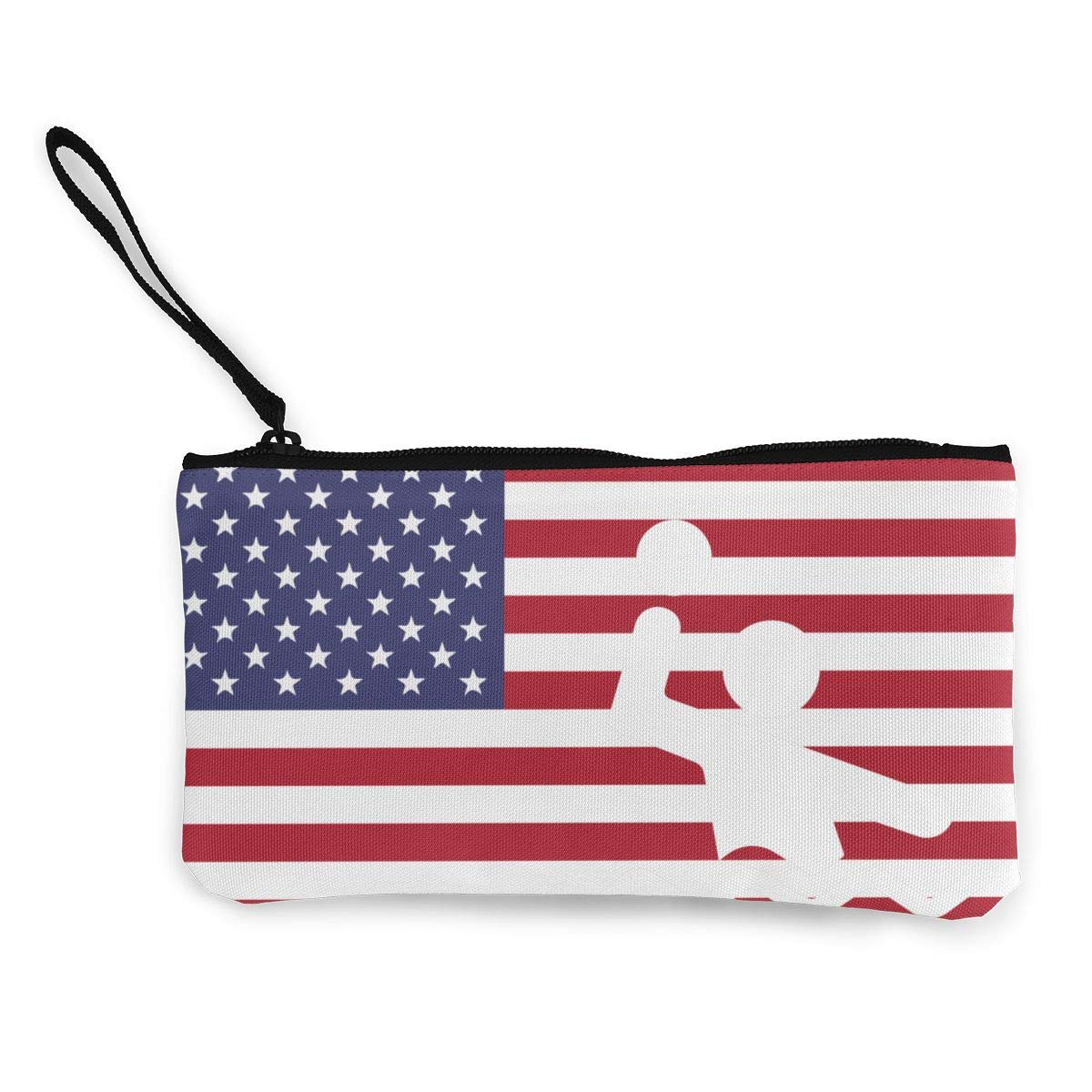American Flag Water Polo Zipper Canvas Coin Purse Wallet Make Up Bag,Cellphone Bag With Handle