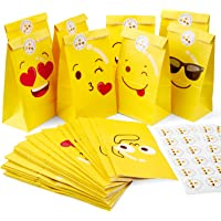 Mooklin Roam 48 stuks Emoji papieren zakken kraftpapier cadeauzakjes voor levensmiddelen met stickers voor het verpakken…