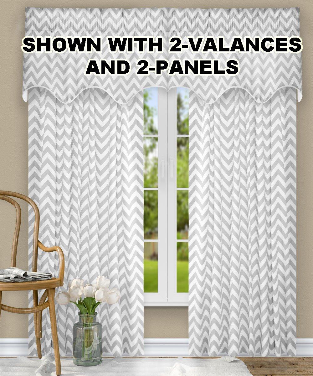 "Ellis Curtain Reston Chevron Stripe Tailored Panel Curtain, 50"" x 63"", Sterling"