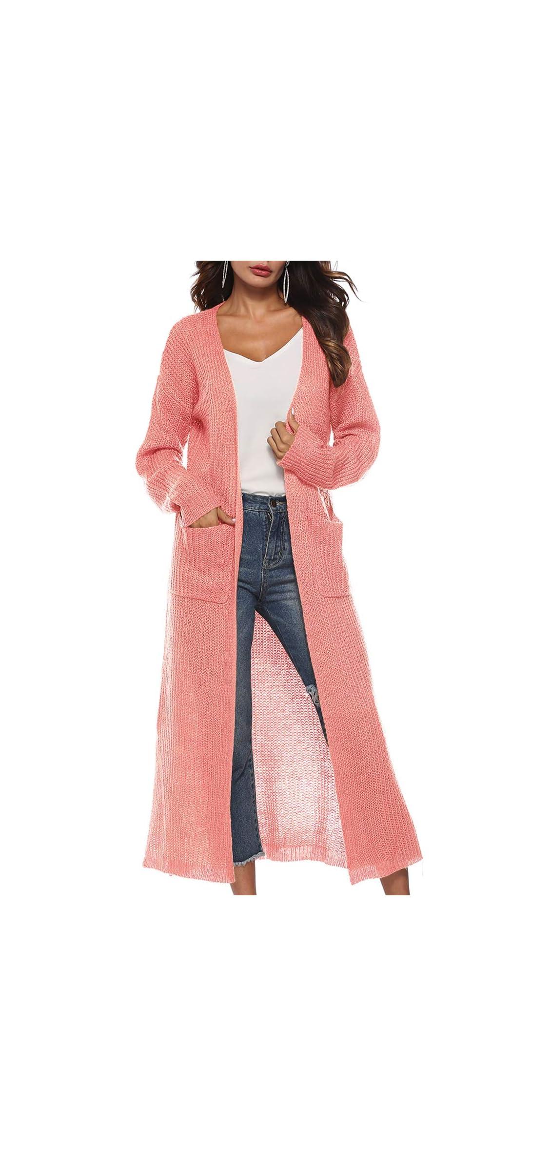 Womens Long Cardigan Long Sleeve Open Front Split Knit Cardigan