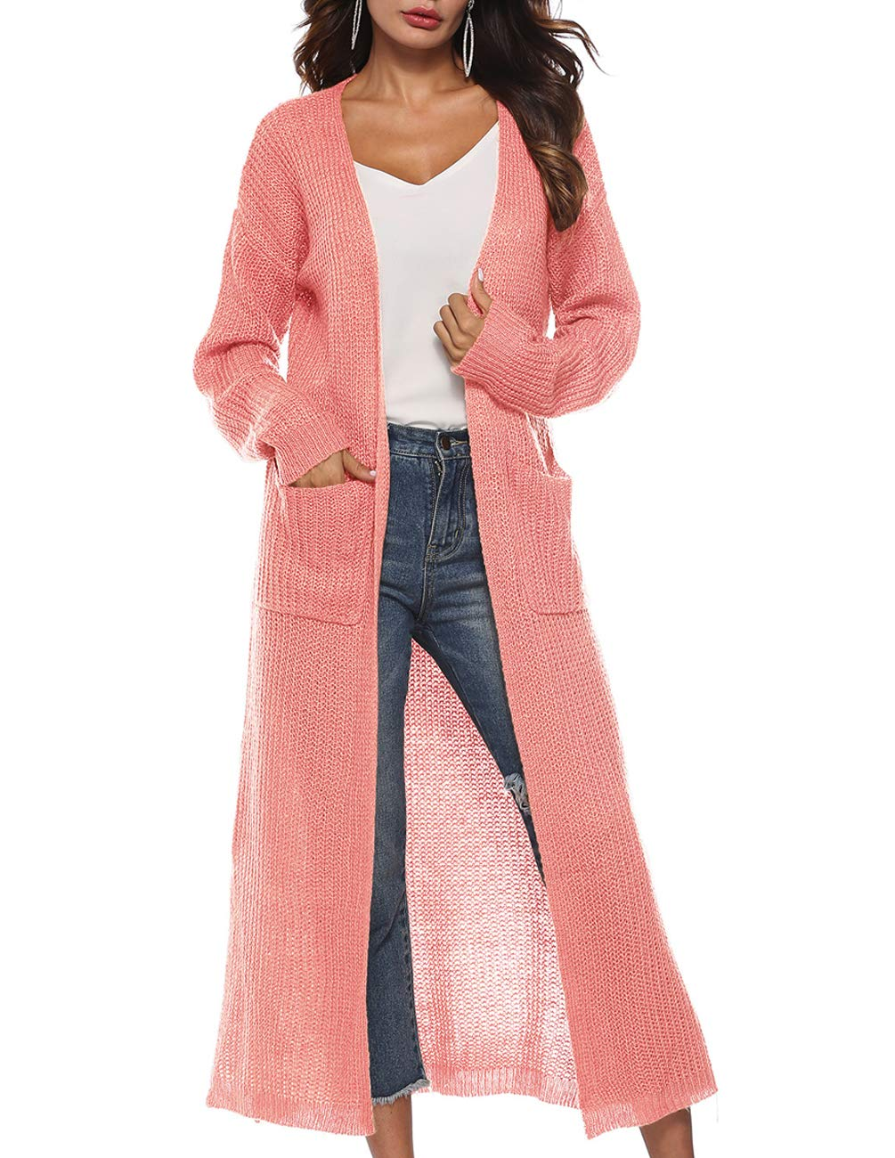 c2f32ee640 Womens Open Front Cardigan Long Sleeve V Neck Soft Loose Slit Chunky Knit Sweater  Coat Maxi Long Duster Coat Pockets Pink