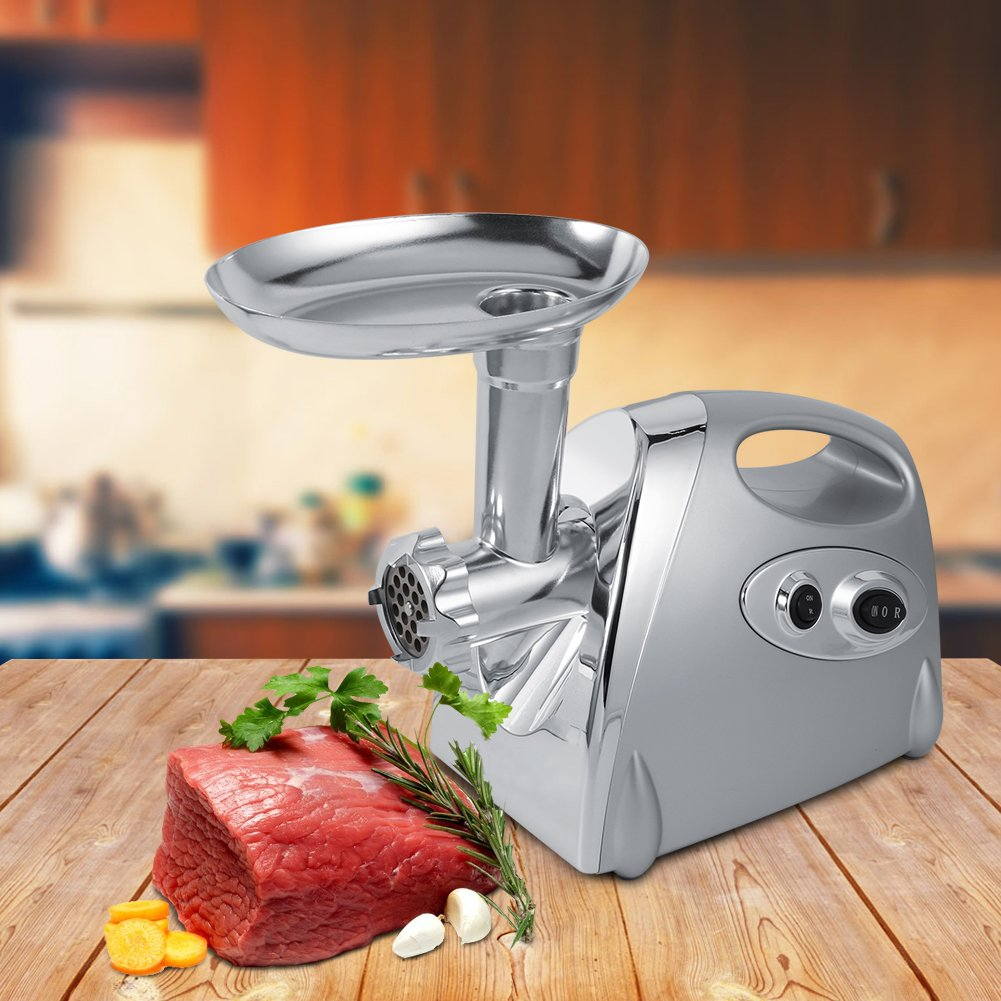 Electric Meat Grinder, 1600 Watt Industrial Heavy Duty Professional Commercial Home Sausage Stuffer Maker Food Mincer with 3 Cutting Blades ZJchao
