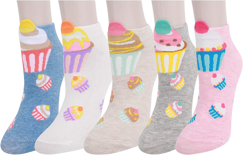 5 Pairs Women Girls Novelty Ankle Socks Cotton Cute Animal Stripe Flower Design (Multi-Cupcakes) at  Women's Clothing store