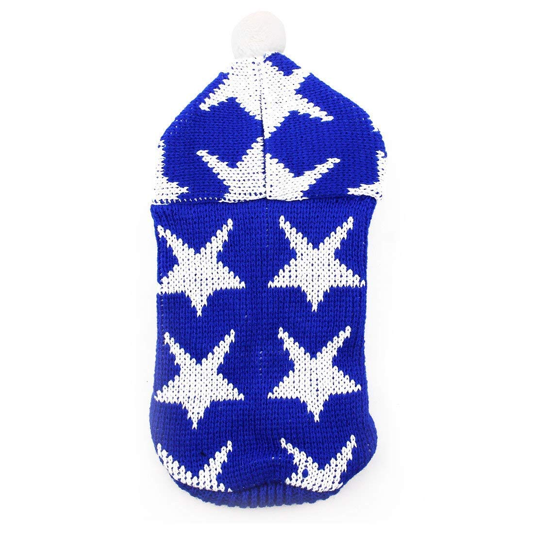 1Pc S, Dark bluee   Star Pattern Woolen Pet Teddy Knitted Winter Warm Hoodie Sweater Coat Clothes Apparel Costume