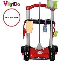Vikida Kids Cleaning Set/13 pcs Cleaning kit for Kids/Cleaning Trolley/Pretend Play Cleaning Set