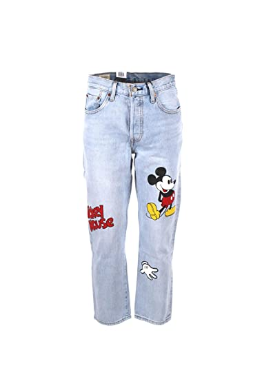 Levis Jeans 501 Donna Light Blue Denim Cropped Regular Fit con Stampa Mickey Mouse 362000009