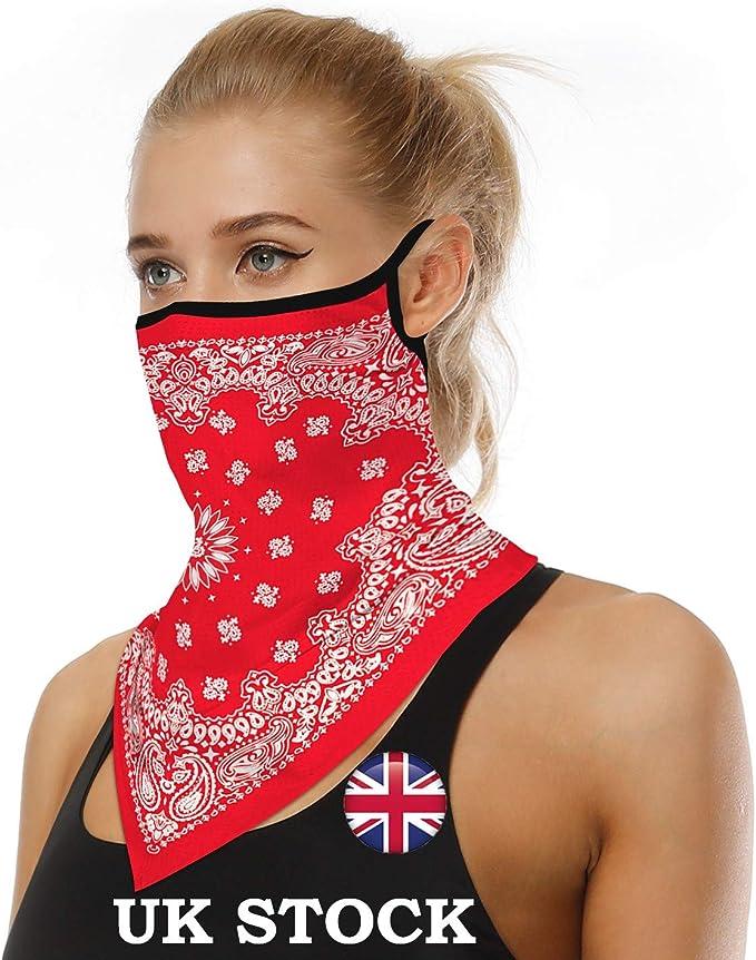 Image of N&D - Mascarilla unisex de tela bandana para hombre y mujer, lavable con orejeras, para cuello, bufanda, polvo, viento, motocicleta, etc.