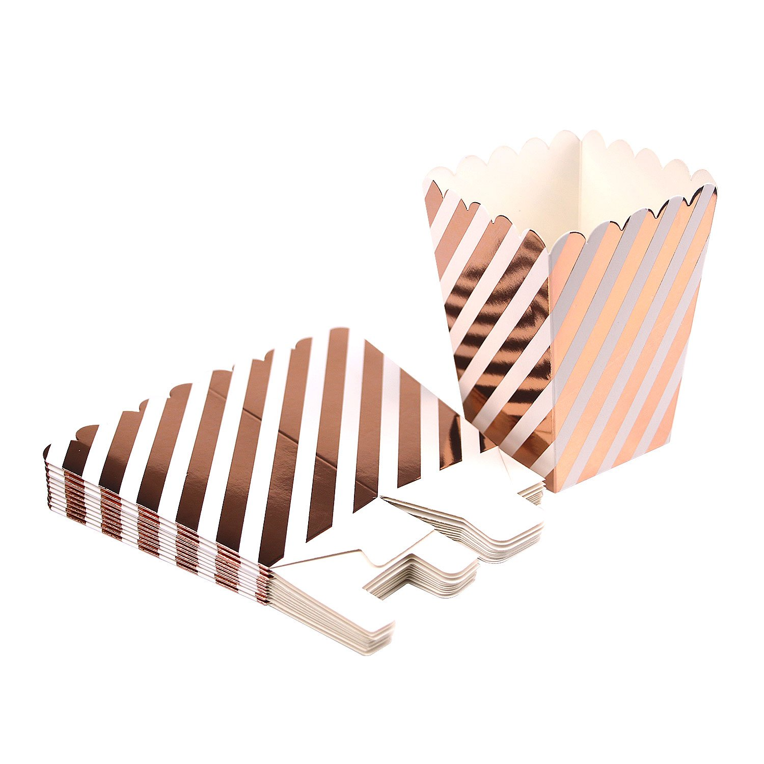 Simla Decor 36pcs Striped Rose Gold Popcorn Box Candy Buffet Treat Boxes Party Favor Box for Birthday Party Bridal Shower Movie Night Sleepover Party Baby Shower Bachelorette Hen Party