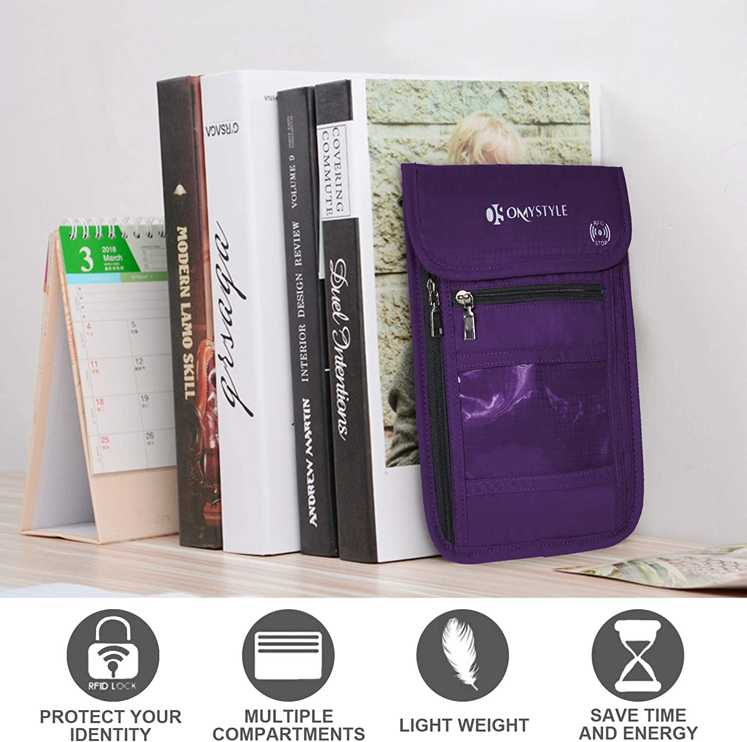 RFID Blocking Passport Holder Travel Neck Pouch Neck Wallet for Women /& Men to Keep Your Cash and documents Safe