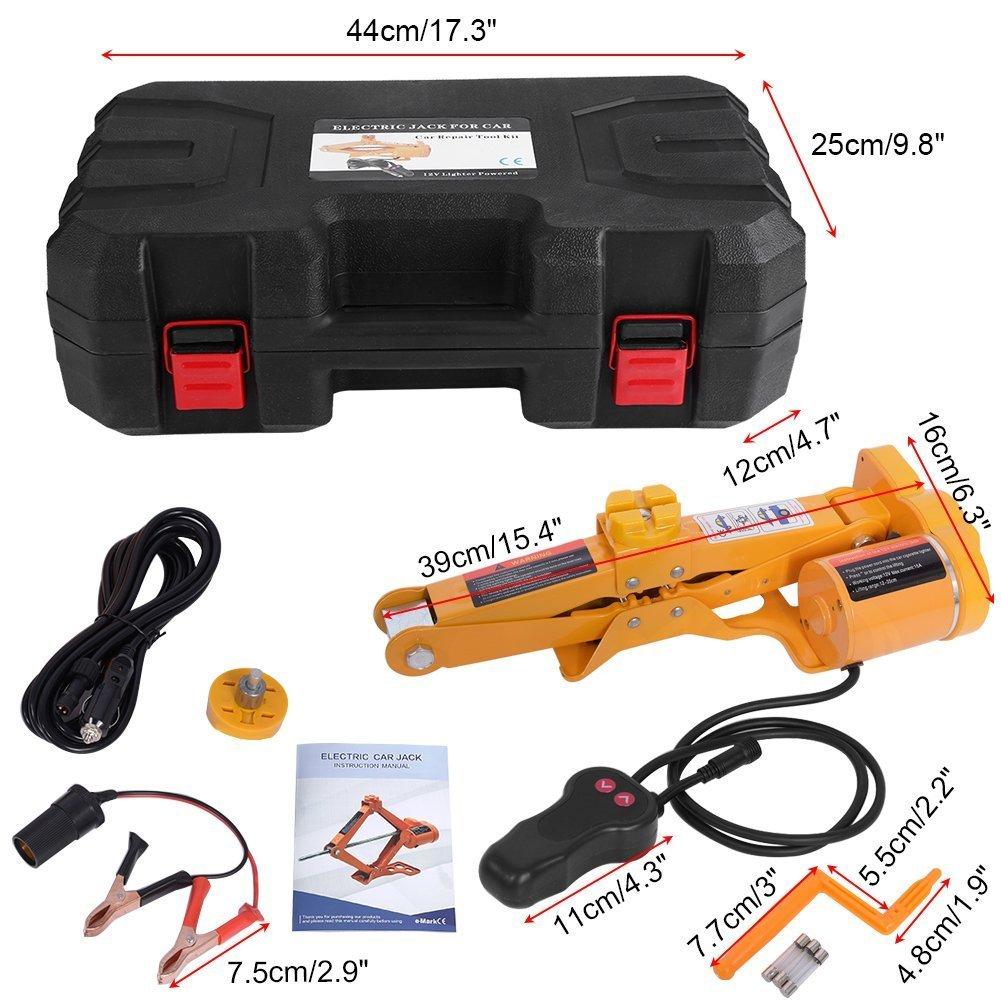 Cric Elettrico 12V 2T Cric Elettrico Forbice Elettrico Cric Elettrico Automatico con Cavo per Accendisigari e Alimentazione del Motore Cric Elettrico per Auto Professionale