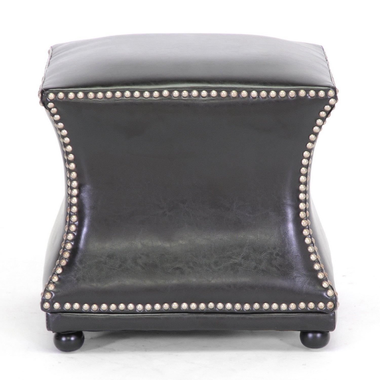Baxton Studio Ellastone Modern Leather Ottoman Dark Brown