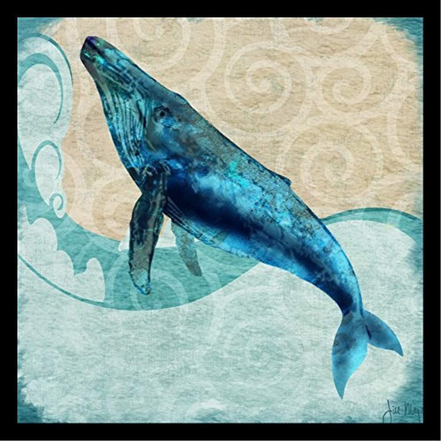 Amazon Com Buyartforless Framed Humpback Whale By Jill Meyer 12x12 Art Print Poster Coastal Ocean Painting Colorful Blue Whale Posters Prints