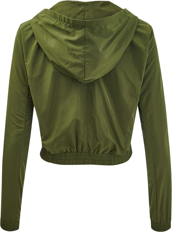 FASHION BOOMY Womens Color Block Windbreaker Jacket Hooded Pullover Zip Up Outwear