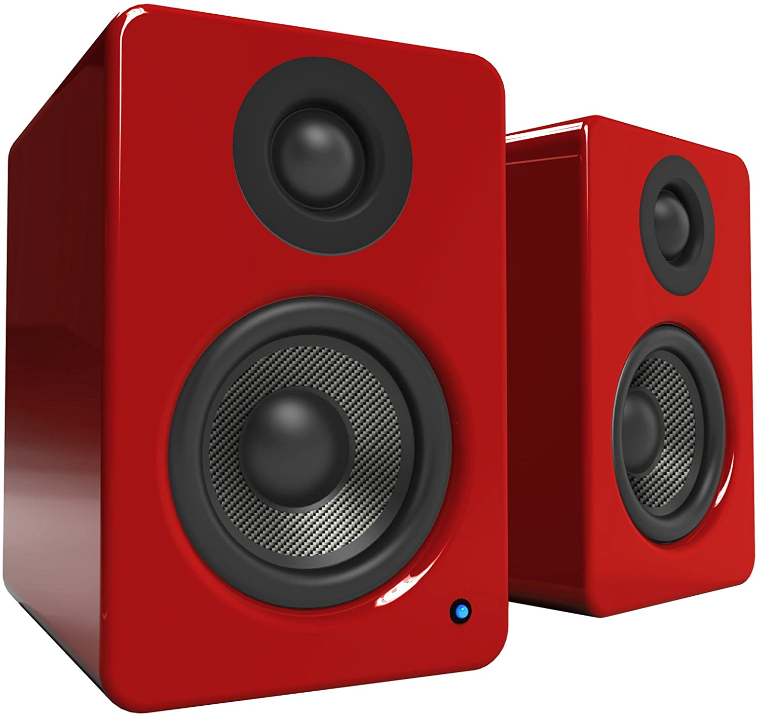 """Kanto 2 Channel Powered PC Gaming Desktop Speakers – 3"""" Composite Drivers 3/4"""" Silk Dome Tweeter – Class D Amplifier - 100 Watts - Built-in USB DAC - Subwoofer Output - YU2GR (Gloss Red)"""
