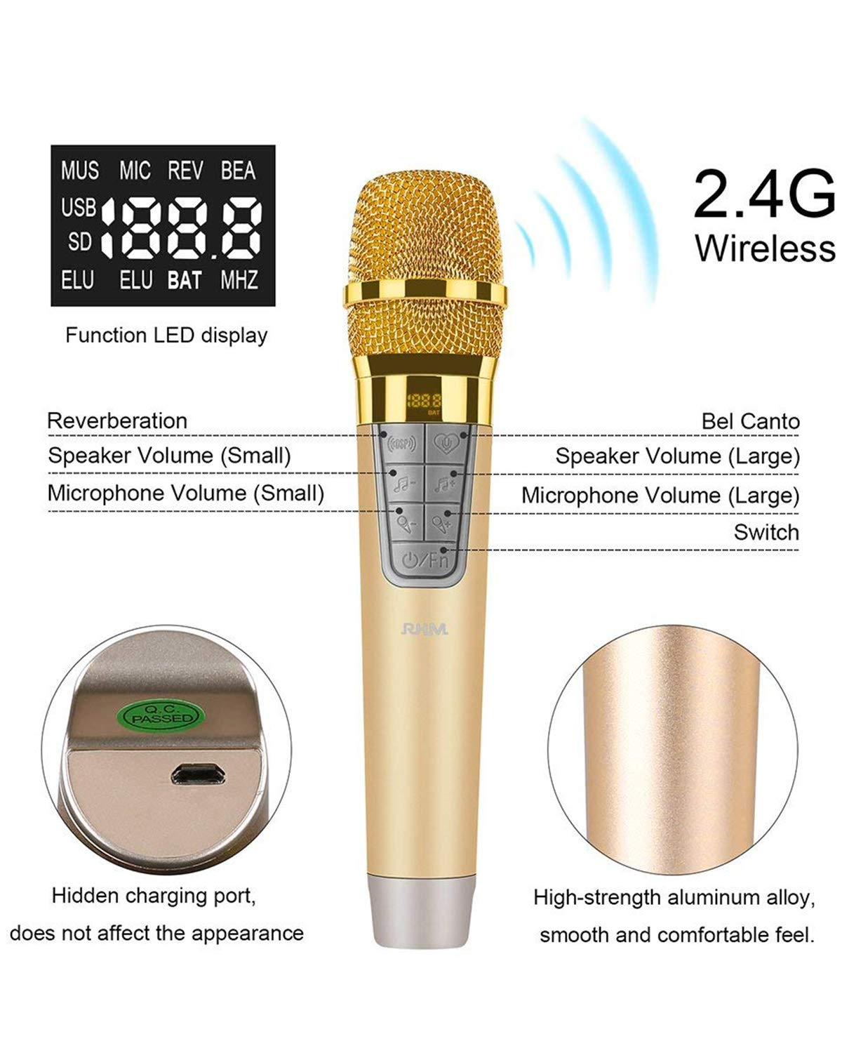 RHM Karaoke Machine for Kids&Adult,2 Wireless Microphones,Rechargeable Battery Speaker,Portable PA Speaker System with Bluetooth/AUX/USB/SD for Home,Party,Wedding,Picnic Outdoors&Indoors Activities by RHM (Image #4)